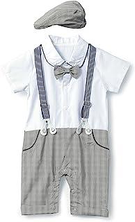HeMa Island HMD Baby Boy Gentleman White Shirt Bowtie Tuxedo Onesie Jumpsuit Overall Romper(0-18M) …