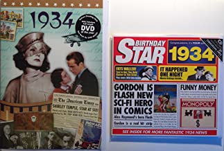 1934 Birthday Gifts Pack - 1934 DVD Film , 1934 Chart Hits CD and 1934 Birthday Card