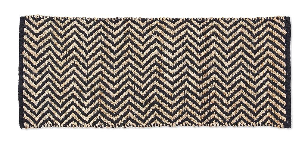 ウール不一致説得Hemp Cotton Herringbone Rug ヘンプコットンヘリンボーンラグ 120×50cm (ブラック)