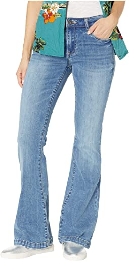 Stella Relaxed Flare Jeans w/ Wide Hem in Network w/ Medium Light Base Wash