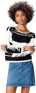Marca Amazon - find. Jersey de Hilo con Cuadros y Flecos para Mujer