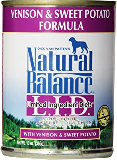 Natural Balance L.I.D. Limited Ingredient Diets Canned Wet Dog Food, Grain Free, Venison And Sweet Potato Formula, 13-Ounc...