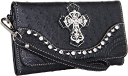 M&F Western Ostrich Cross Wristlet Wallet