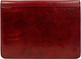 Leather Portfolio Document Folder Handcrafted Case Red Time Resistance
