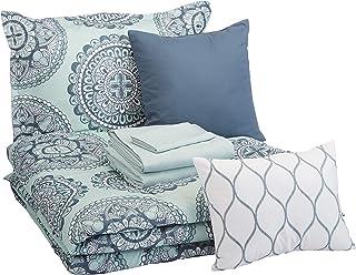 مجموعه ای از تختخواب راحتی راحتی 8 تکه AmazonBasics ، Twin / Twin XL ، Medalion Foam Sea