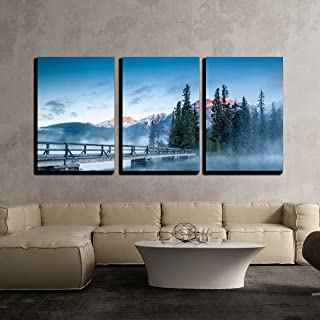 wall26 - 3 Piece Canvas Wall Art - First Glimpse of a Golden Sunrise on a Misty and Foggy Morning at Pyramid Lake - Modern Home Decor Stretched and Framed Ready to Hang - 16