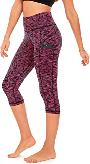 DEAR SPARKLE High Waist Workout Capri Leggings with 3 Pockets for Women. Yoga Athletic Capris for Women (S2)