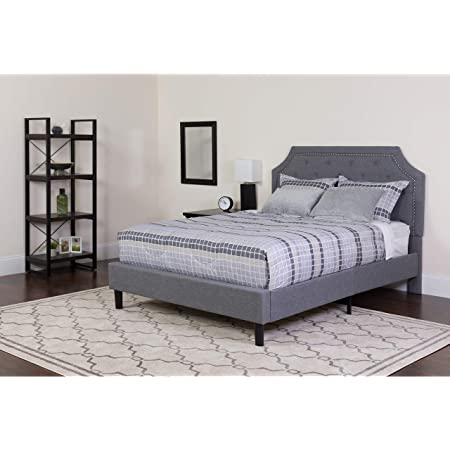 Flash Furniture Brighton King Size Tufted Upholstered Platform Bed In Light Gray Fabric Furniture Decor