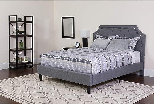 Flash Furniture Brighton Tufted Upholstered Platform Bed - King Size (Light Gray)