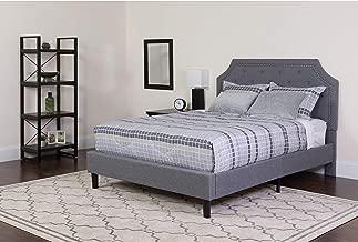 Flash Furniture Brighton King Size Tufted Upholstered Platform Bed in Light Gray Fabric - SL-BK4-K-LG-GG