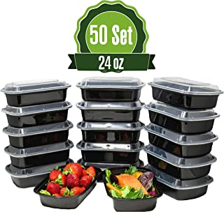 Safeware Meal Prep 1 Compartment Containers with Lids-24oz [50 Set] Ideal-Lunch Containers, Food Prep Containers, Food Storage Bento Box, Portion Control | Stackable | Microwave | Dishwasher | Freezer