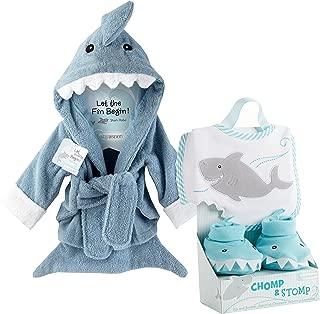 Baby Aspen Shark Gift Bundle with Shark Chomp & Stomp and Shark Robe, BLUE