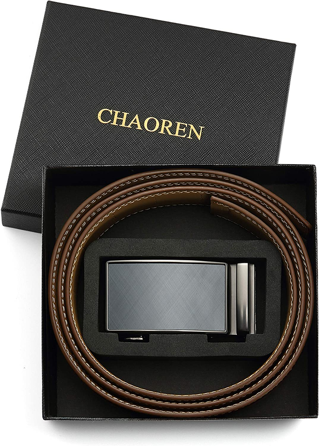 Chaoren Leather Ratchet Dress Belt 1 3/8 with Formal Slide Buckle, Adjustable Trim to Fit in Gift Box