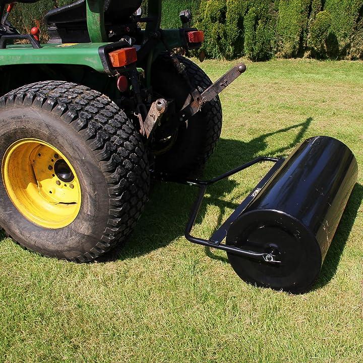 Rullo da giardino trainabile in acciaio 120 litri largo 1 metro per appiattire prati  t-mech B06XWBCJVK