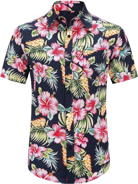 online shop PEGENO Men's Flower Casual Button Short Sleeve Down Shi Hawaiian Washington Mall