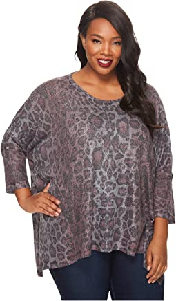 Nally & Millie - Plus Size Printed Leopard Top