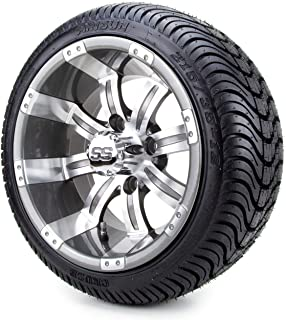 """12"""" Gunmetal Tempest Golf Cart Wheels and Tires Combo Set of 4 with All Low Profile Tires"""