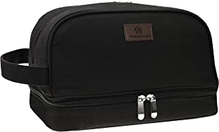 Premium Canvas Toiletry Bag By Freegrace - Large Dopp Kit For Men & Women - The Perfect Travel Essentials Organizer – Ideal For Cosmetics, Personal Items, Shaving Sets, Shampoo, Body Wash & More (Black)