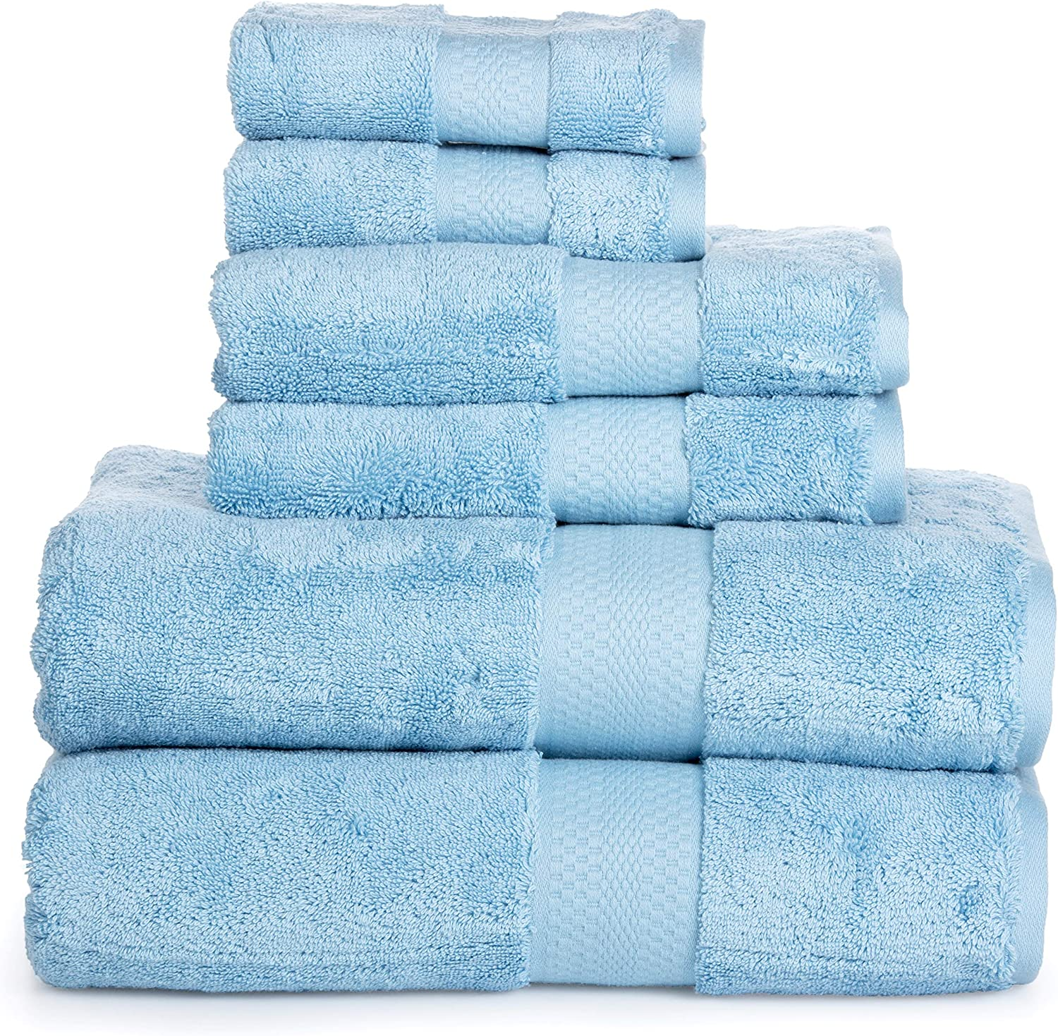 Luxury Cotton Bathroom Bath Towels  6 Piece Towel Set for Household Bathrooms - Soft Plush and Absorbent Cotton with Double Stitch Hems - Bath   Shower Towels, Hand Towels, and Washcloths - LIGHT blueE