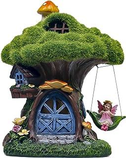 TERESA'S COLLECTIONS 7.7 Inch Flocked Tree Fairy Garden House Statue with Mushroom, Solar Powered Garden Lights Fairy Gard...