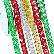 SATINIOR 6 Rolls Christmas Ribbon Gift Wrapping Ribbon Snowflake Shimmer Ribbons for Wedding Christmas Decoration, 120 Yar...