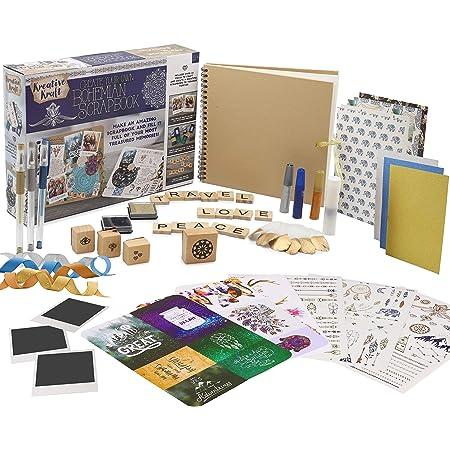 KreativeKraft Kit Album Photo Scrapbooking pour Adultes avec Scrap Book à Spirales Et Plus De 60 Accessoires et Autocollants, Album Photo Voyage, Cadeau Maitresse d'Ecole Fin d'Année