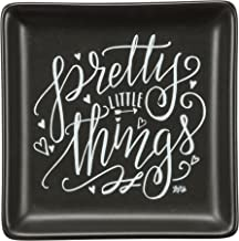 Trinket Jewelry Tray with Quote Pretty Little Things Matt Black Finish