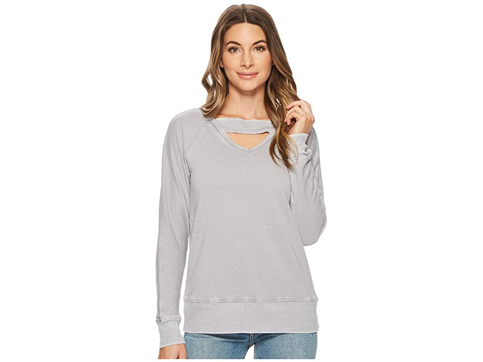 Allen Allen Deep V with Ribbed Neckband Sweatshirt (Pale Grey) Women