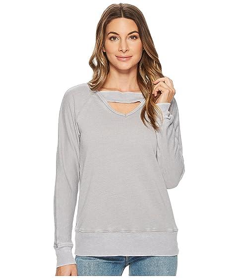 Deep V With Ribbed Neckband Sweatshirt, Pale Grey