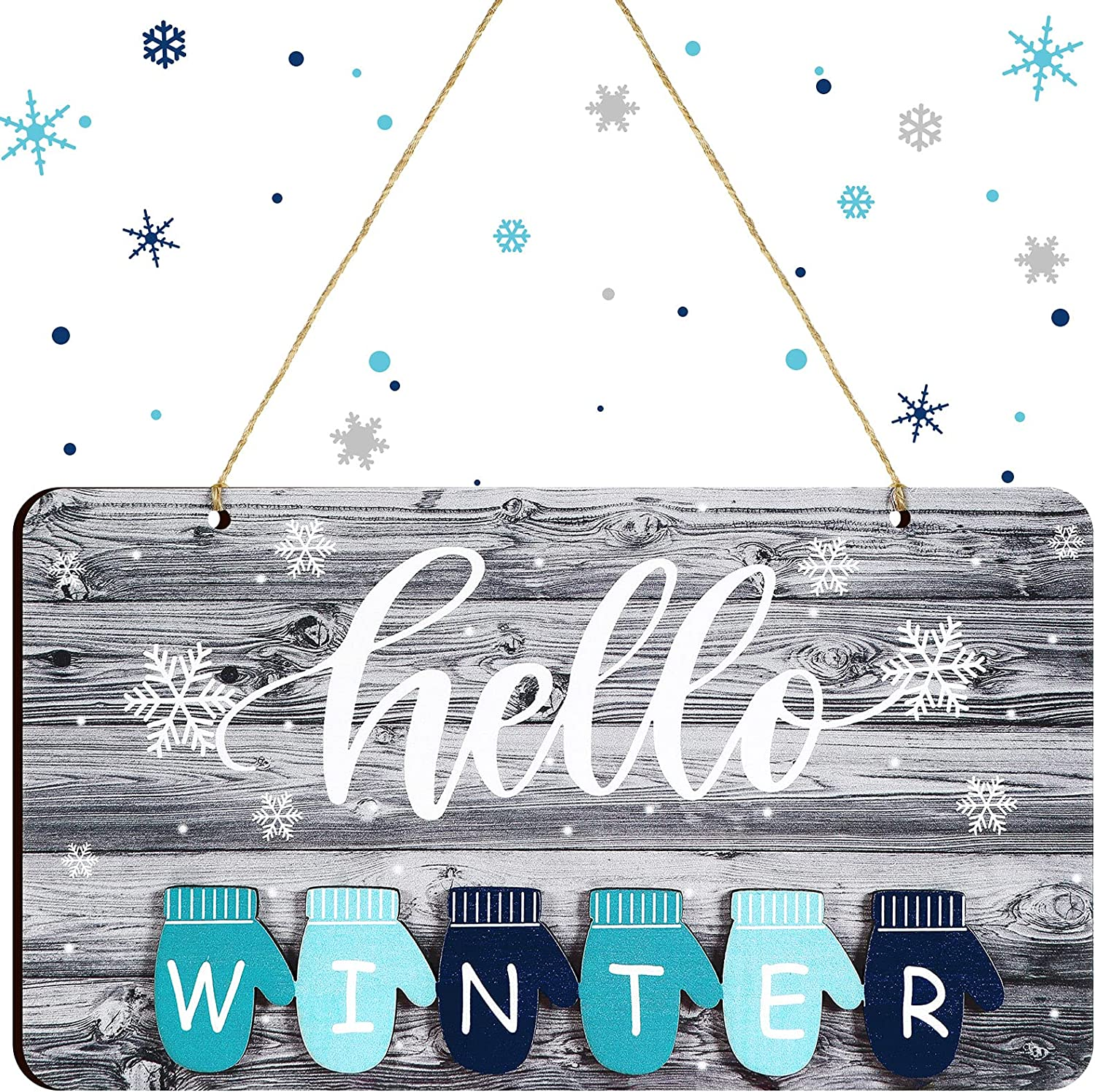 Blulu Hello Winter Sign Winter Snow Wall Sign Christmas Wooden Sign Winter Wall Hanging Plaque Farmhouse Rustic Wall Art Decorative Wood Season Sign for Home Living Room, 10 x 5.5 Inch (White)