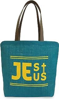 Christian Bag Jesus Jute Bag - Turquoise Color - Large Size - Tote Bag Women Shoulder Bag Shopping Tote Multipurpose Bag Market Bag Grocery Bag Travel Bag Office Tote School Bag Beach Bag Holiday Gift