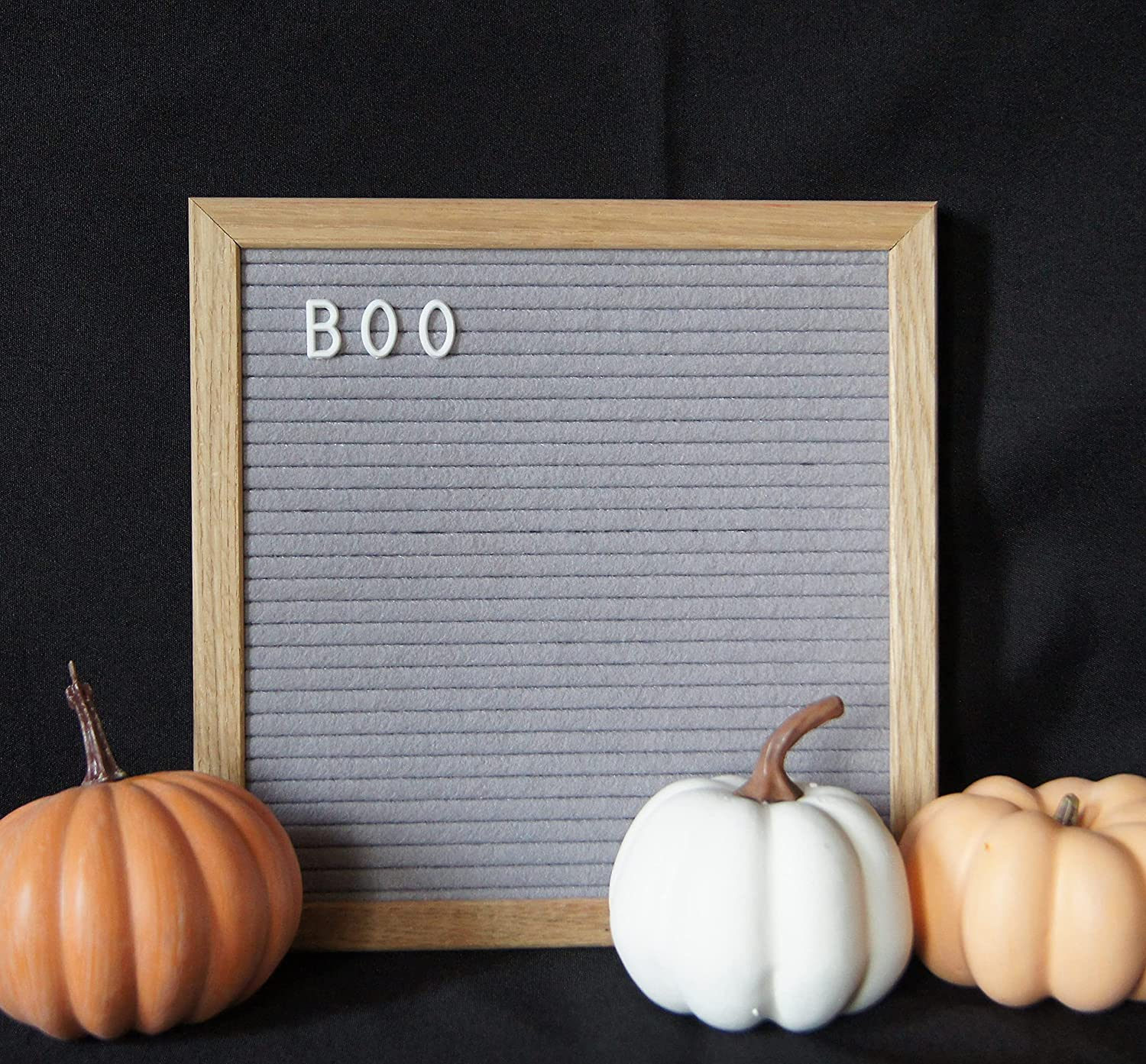 Luv Letters Letter Board 10x10 inch(Grey) Natural Oakwood Frame, Felt Letter Board, Wall Mount, Table Top Display. Home Decor, Office