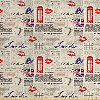Ambesonne Tea Party Fabric by The Yard, London Newspaper Inspired Background with Grunge Elements Kiss Marks, Decorative Fabric for Upholstery and Home Accents, 1 Yard, Navy Blue