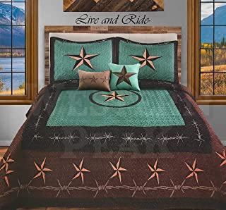 Western Peak 5 Pc Western Texas Cross Lodge Barbed Wire Quilt Bedspread Shams Pillow Oversize Comforter (Turquoise Star Rope, King)