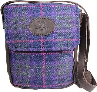 Wild Scottish Deerskin Designer Leather Authentic Purple Tartan Check Harris Tweed Cross Over Bag