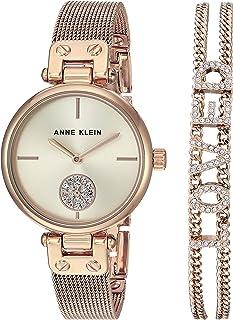 Anne Klein Women's Swarovski Crystal Accented Mesh Watch and Bracelet Set, AK/3552