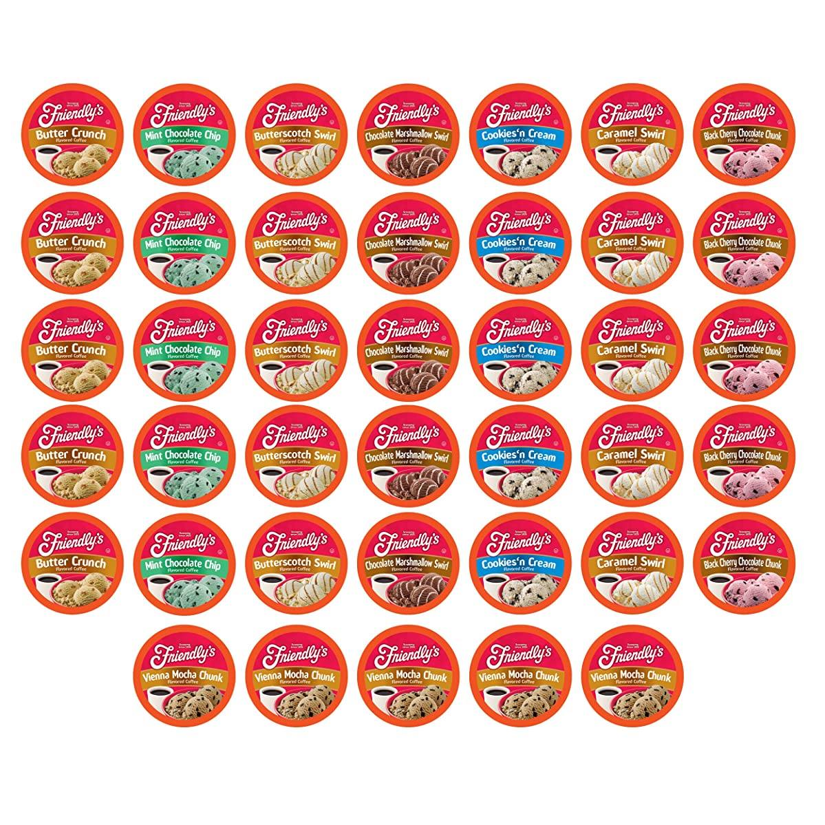 Friendly's Ice Cream Flavored Coffee Pods for Keurig K Cup Brewers Variety Pack, 40Count