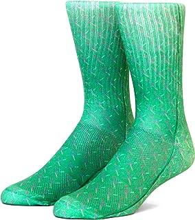 Funny Crazy Novelty Crew Socks for Men (L Shoe Size 9 – 12.5, PDX Carpet)