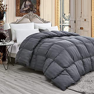 Luxurious Light Weight Goose Down Comforter King/California King Size Duvet, Exquisite Gray Stripe Design, 1200 Thread Count 100% Egyptian Cotton Fabric, 750+ Fill Power, 50 oz Fill Weight