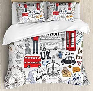 Ambesonne Doodle Duvet Cover Set, I Love London Double Decker Bus Telephone Booth Cab Crown of United Kingdom Big Ben, Decorative 3 Piece Bedding Set with 2 Pillow Shams, King Size, White Red
