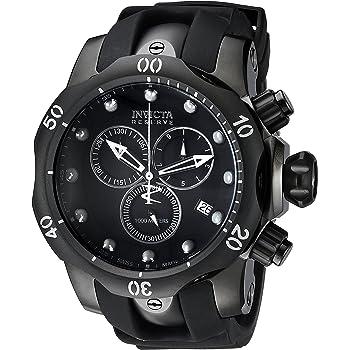 Invicta Men's Reserve Venom 53.7mm Black Stainless Steel Chronograph Quartz Watch with Black Silicone Strap, Black (Model: 6051)