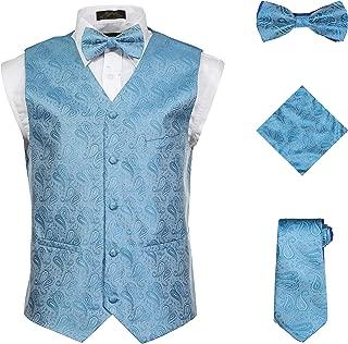 Men's 4 Piece Formal Paisley Vest Set with Tuxedo Vest Tie Hankerchief Bow Tie