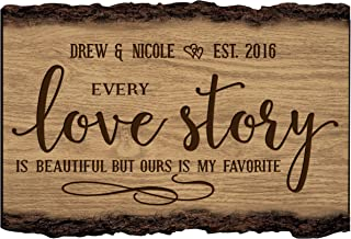 LifeSong Milestones Personalized Every Love Story is Beautiful But Ours is My Favorite Custom Name Sign Engraved with Established Date (Every Love Story)
