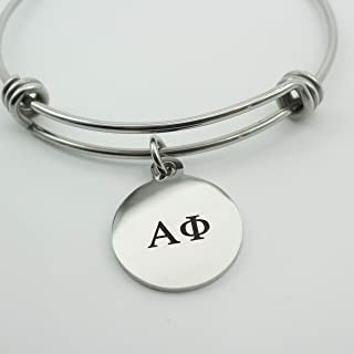 Alpha Phi Sorority Bracelet Stainless Steel Expandable Bangle Greek Life Bid Night Gift Big Little Sister