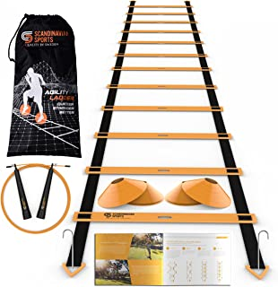 Scandinavian Sports Speed Training Set - Agility Ladder, Jump Rope, Sport Cones and Exercise Folder - Premium Training Too...