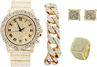 The Dope Thick Blinged Out Rolly Look - Oversize Ice on Blast Fully Iced Out Watch Cuban Bracelet, Pave Earrings, and Mens...
