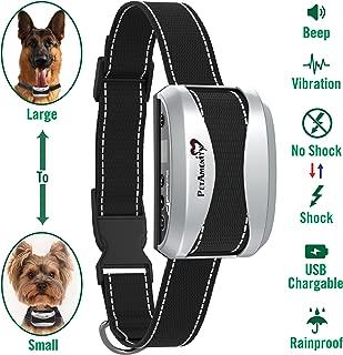 PetAmenity No Barking Control Anti Bark Collar [2019 Ultra], Rechargeable/Rainproof/Reflective, 7 Sensitivity, Beep/Vibration/Safe Shock for Large, Medium, Small Dogs