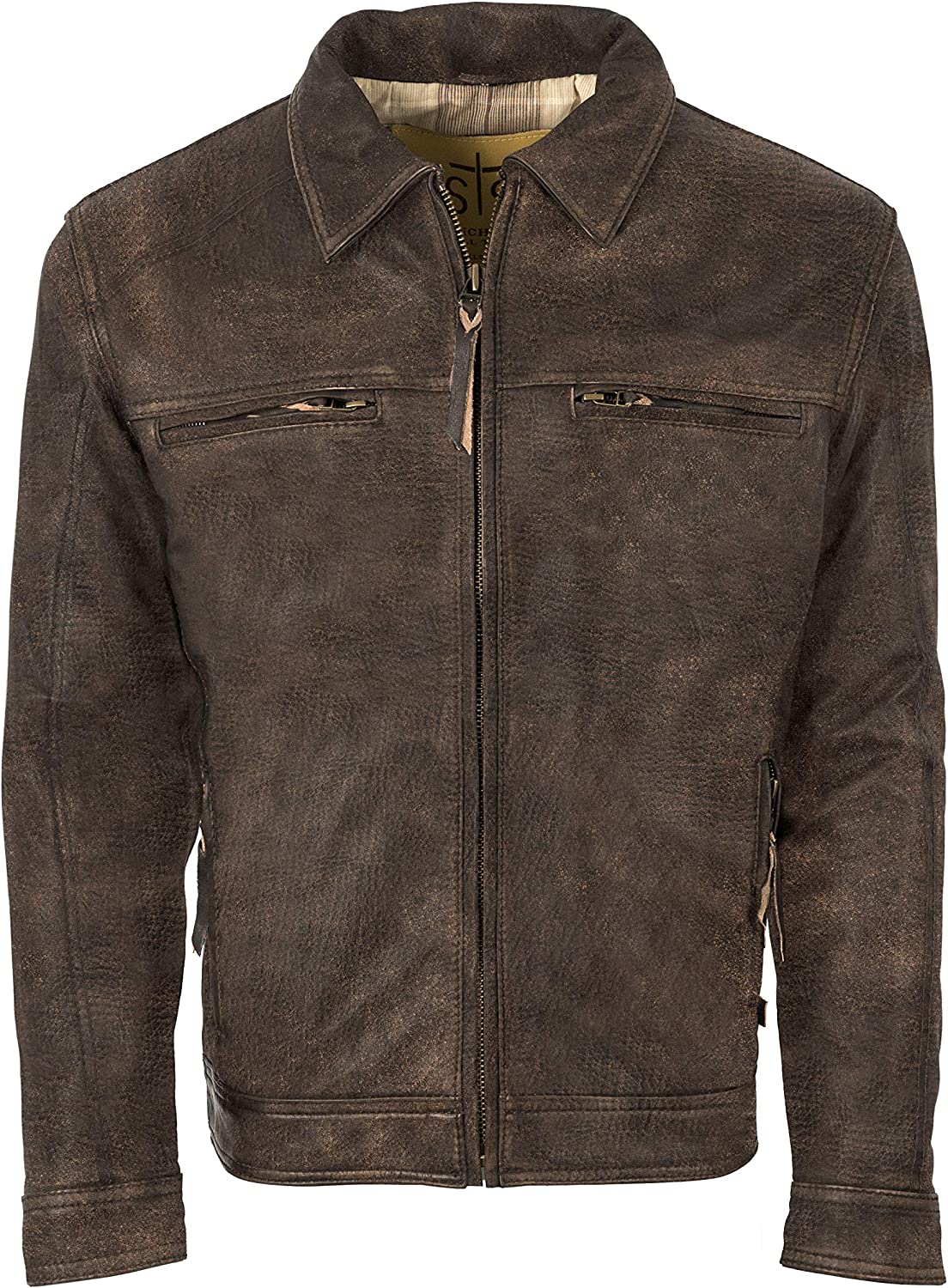 STS Ranchwear Men's Contemporary Fit Rustic Leather Jacket (