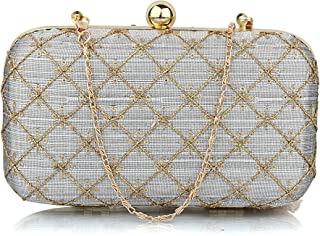 Mammon Women's Bridal Clutch with sling (6.5x4x4 inches) (Grey)