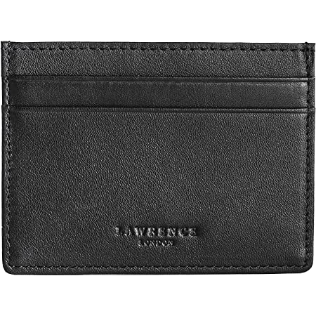 Lawrence London ® Mens Credit Card Holder, Genuine Leather, RFID Blocking Minimalist Wallet (Black), Dual Sided with 5 Pockets, Ideal Gift, Great for Travel